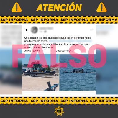 Es fake news el supuesto hundimiento de una lacha tipo patrulla de la SSP