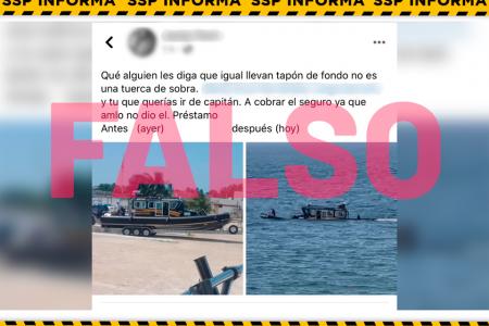 La SSP presenta denuncia penal por fake news del hundimiento de lancha tipo patrulla