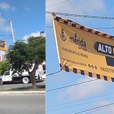 Colocan mantas de alerta en zonas de alto riesgo Covid-19 en Mérida