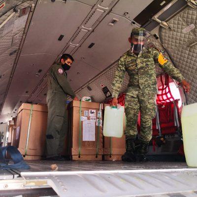 Llega el octavo vuelo del Ejército con insumos para atender Covid-19 en Yucatán