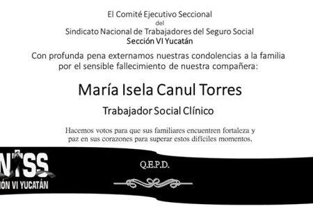 Fallece trabajadora social del IMSS