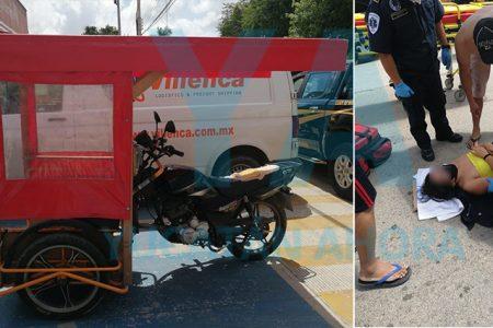 Camioneta echa reversa sin precaución y choca un mototaxi: una herida