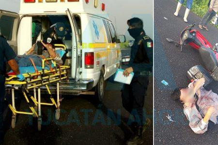 Motociclista es hospitalizado al derrapar en la Mérida-Tizimín