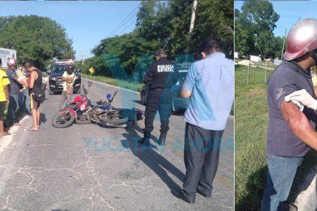 Choque de motociclistas en la Mérida-Cancún