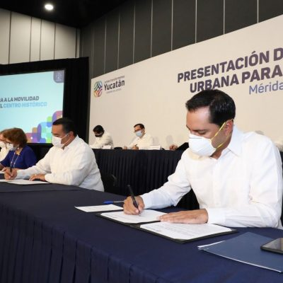 Firman el Plan de Mejora a la Movilidad Urbana para el Centro Histórico de Mérida