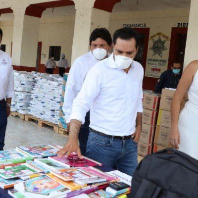 Mauricio Vila supervisa entrega de apoyos escolares en Chicxulub Pueblo y Dzoncauich