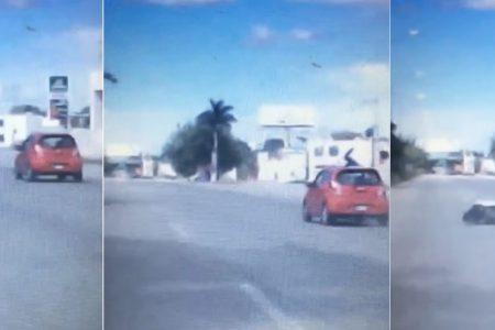 Distraído conductor manda a volar la moto de un adolescente en el Periférico