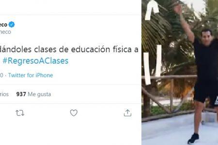 Rommel Pacheco regresa como maestro de educación física en el curso escolar a distancia