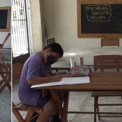 Maestra de Kanasín convierte su terraza en aula con internet y asesorías sin costo
