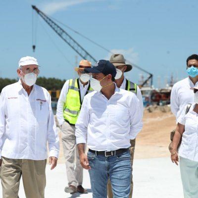 Mauricio Vila y el titular de la SCT supervisan modernización del puerto de abrigo de Yucalpetén