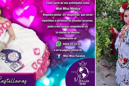 Mini Miss de Yucatán requiere apoyo para donar despensas
