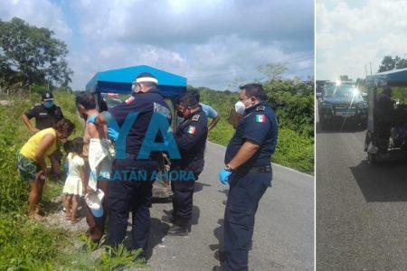 Vuelca un mototaxi con cinco pasajeros: un abuelito y una niña de 5 hospitalizados
