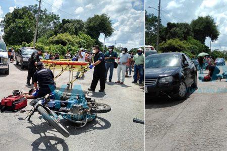 Conductora ignora el alto y manda al hospital a motociclista