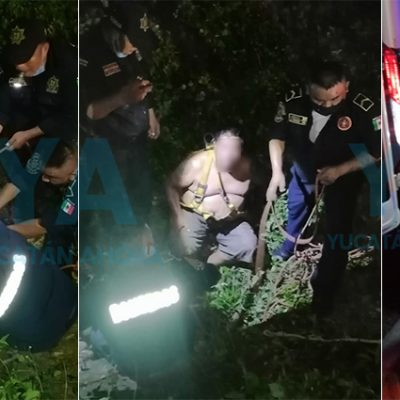 Rescatan a un hombre que cayó a un pozo pluvial