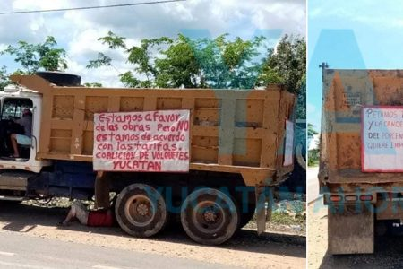 Pedradas entre Catem y volqueteros por tarifas de kilometraje para construcción del Tren Maya