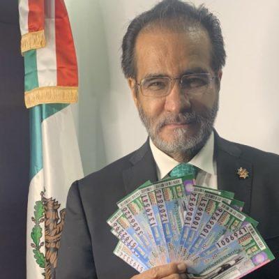 René Bejarano, el Señor de las ligas, promueve la venta de cachitos del avión presidencial
