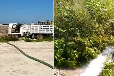 Grave daño ambiental en Las Américas: constructora drena cenote para secarlo y hacer más casas