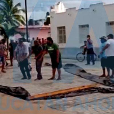 Disturbio en el arranque de las obras de Sedatu en Chicxulub Puerto: tres detenidos