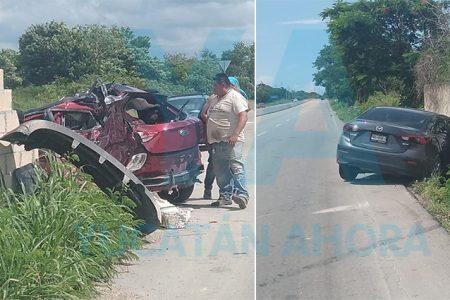 Se salva de aparatoso choque en la Mérida-Chetumal