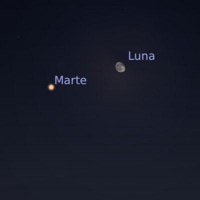 Conjunción de la Luna y Marte, el domingo 6 en la madrugada