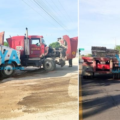 Choque de tráileres en la Mérida-Umán