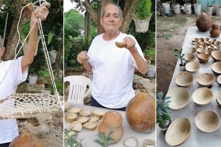 Don Lucas mantiene viva la tradición de elaborar jícaras y maceteros de henequén