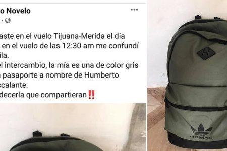 Confusión de mochilas en vuelo Mérida-Tijuana: pide ayuda para recuperar la suya