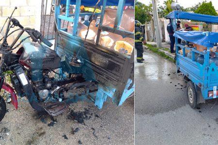 Se incendia un motocarro en Kanasín