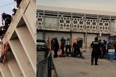 Rescatan a trabajador que se desmayó en el techo del mercado San Benito