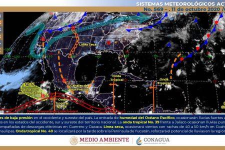 Conagua pronostica más lluvias: la onda tropical 40 pasa hoy sobre Yucatán