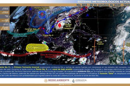 Zeta, ya muy lejos de Yucatán pero sus lluvias aún estarán presentes