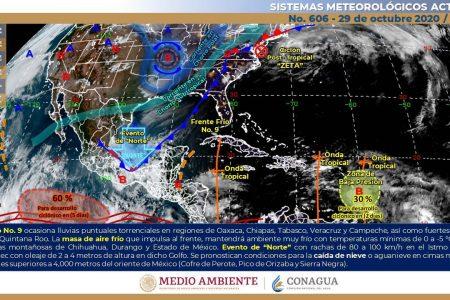 Frente frío en Yucatán y en el Caribe se gesta nueva depresión tropical