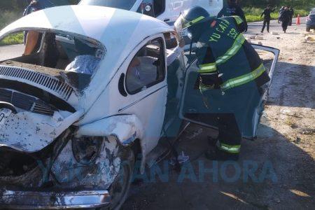 Espectacular accidente en la carretera Mérida-Chetumal