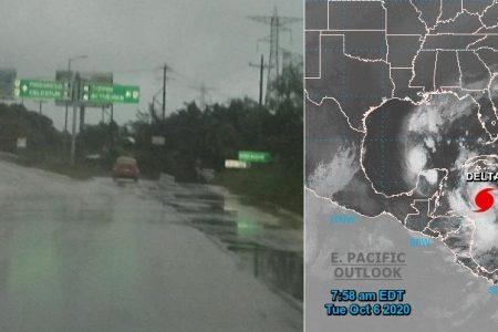 Llueve por remanentes de Gamma; el huracán Delta aún está lejos de Yucatán
