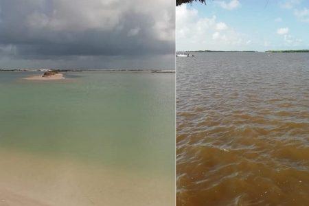 Exceso de agua de Gamma y Delta le cambia el color a la laguna rosa de Yucatán