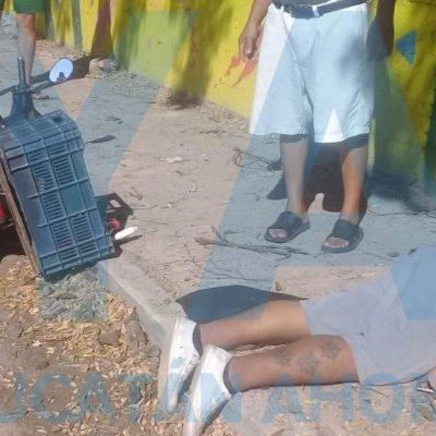 Joven dormita y derrapa con su moto en calles del oriente de Mérida