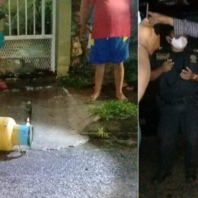 Aprovechó pausa de la lluvia para robar un tanque de gas… pero se resbaló y lo atraparon