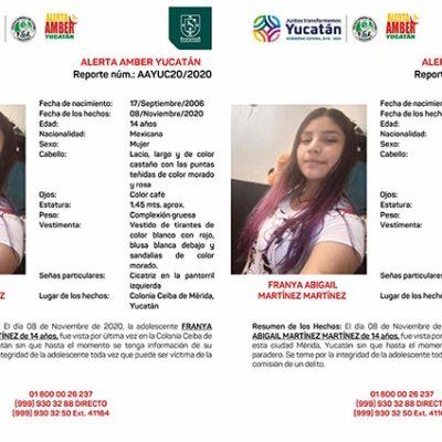 Emiten Alerta Amber para localizar a Franya Abigail, menor de 14 años extraviada en Mérida