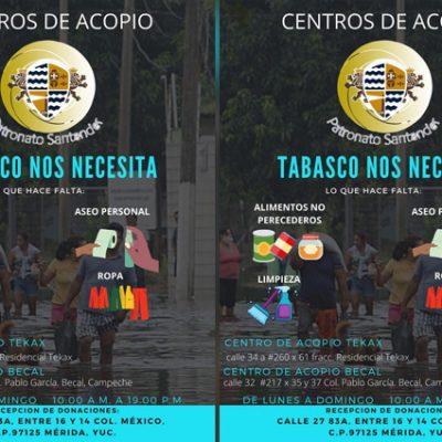 Instala Patronato Universidad Santander centros de acopio en apoyo a Tabasco