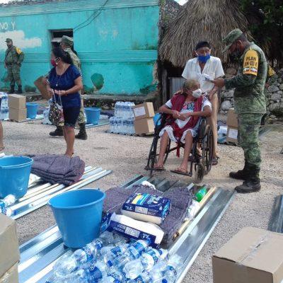 Incansable labor del Ejército en la entrega de apoyos a familias yucatecas