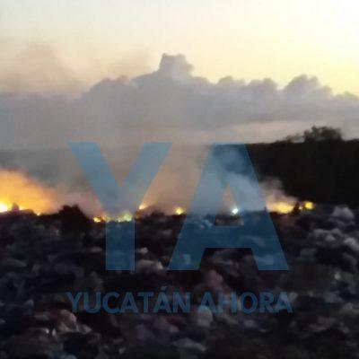 Incendio en el relleno sanitario de Tizimín