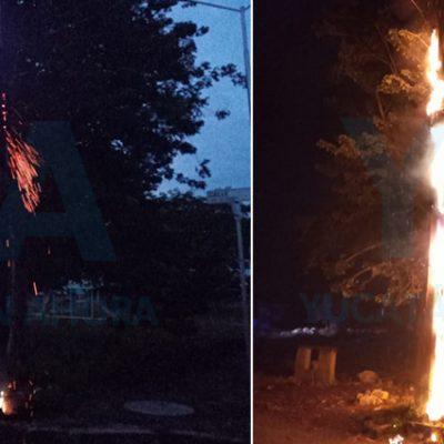 Explota un transformador, incendia un poste y deja sin luz a vecinos de Umán