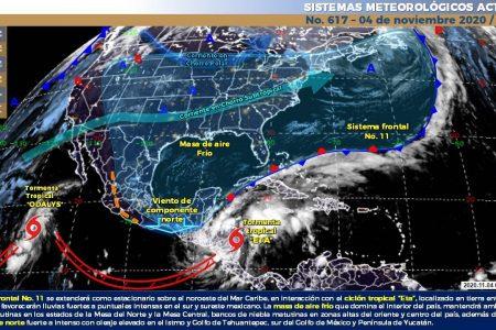 Nublados y lluvias por choque de frente frío y Eta en el Caribe