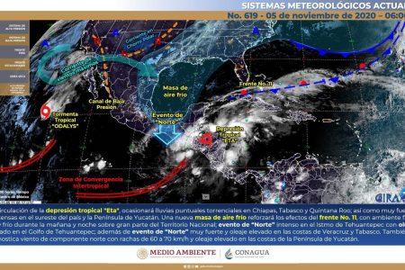 Efectos indirectos de Eta en Yucatán: nublados y chubascos a lo largo del día