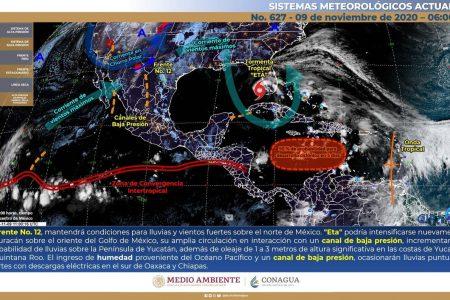 Conagua pronostica lluvias en Yucatán, 'empujadas' por la 'paseadora' Eta