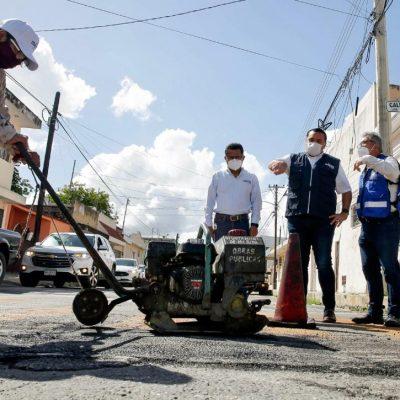 Continúa el buen avance del Programa Emergente de Bacheo: Renán Barrera