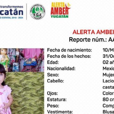 Activan Alerta Amber para localizar a la niña Marissa Monserrat, desaparecida en Tekax
