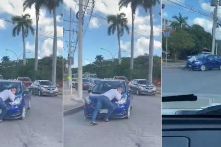 Se interpone en auto que lo chocó, para impedir que huya