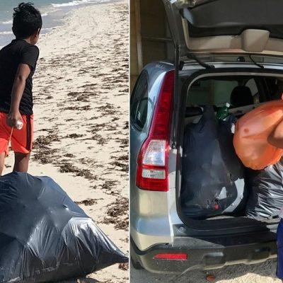 Danny, el pequeño limpiador de playas en Yucatán