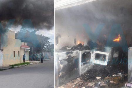 Explota una secadora e incendia una lavandería en Las Américas